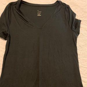 Basic black v-neck T